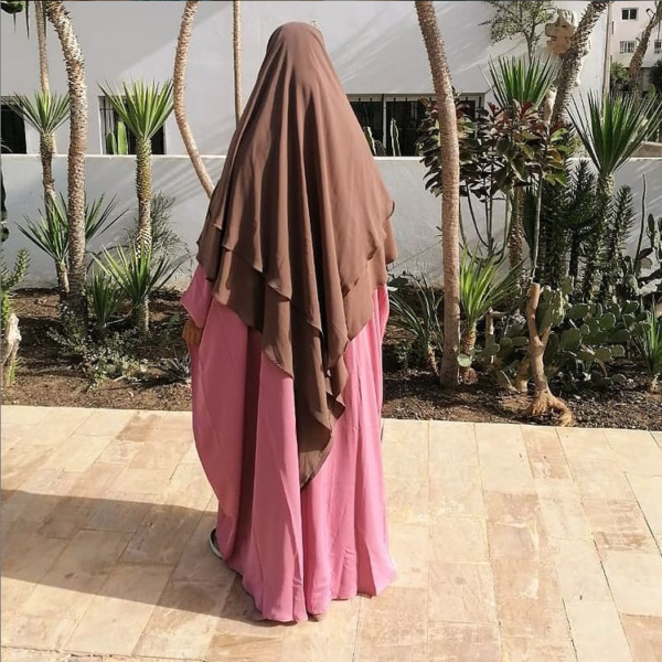 Khimar taupe 2 voiles